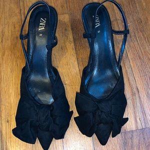 Zara  black heels with a bow